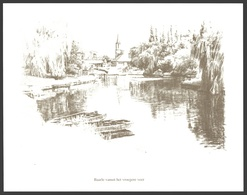 Baarle / Drongen - Baarle Vanuit Het Vroegere Veer - Print Van Een Tekening - Estampes & Gravures