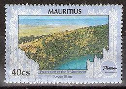 Timbre Maurice 1991 Y&T N°761 ? (07) Oblitéré. Bassin Blanc. 40Cs Sur 75Cs. Cote ??? € - Maurice (1968-...)