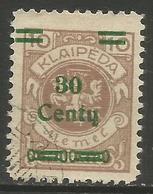 Klaipeda (Memel) - 1923 Arms Surcharge 30c/10m Unused No Gum    Mi 222 - Memel (1920-1924)