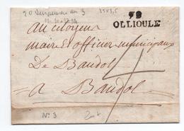 AN 3 - LETTRE D'OLLIOULES Avec MP 78 OLLIOULE (VAR) - Marcophilie (Lettres)