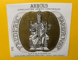10065 - Frédéric Barberousse Château Monfort Arbois  Henri Maire Jura 2 étiquettes 75 &150 Cl - Etiquettes
