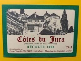 10087 - Côtes Du Jura 1980  Vin De Paille Jean-Claude Peltier Menetru Le Vignoble - Etiquettes