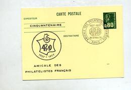 Carte Postale 0.80 Bequet Cachet Paris Amicale Philateliste Illustré - Entiers Postaux