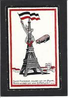 CPA Aviation Zeppelin Tour Eiffel Germany Allemagne écrite Satirique Caricature - Humour