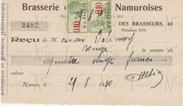 Reçu De La S.A. Brasserie Et Malterie Namuroises Rue Des Brasseurs 43-45 Namur Datée Du 29 Août 1930 - Petits Métiers
