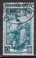Repubblica Italiana, 1950/53 - AMG-FTT 12 Lire Italia Al Lavoro Fil. Ruota - Nr. 95 Usato° - Used