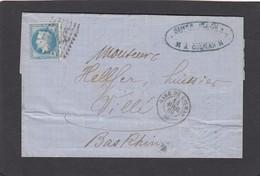 """LETTRE AVEC CACHET """"GARE DE COLMAR"""".3 CACHETS AU VERSO DONT UN AMBULANT. - 1863-1870 Napoléon III Lauré"""