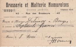 Reçu De La S.A. Brasserie Et Malterie Namuroises Rue Des Brasseurs 43-45 Namur Datée Du 08 Mai 1920 - Petits Métiers