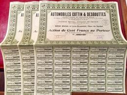 AUTOMOBILES  COTTIN  &  DESGOUTTES -------Lot  De  3   Actions  De  100 Frs - Automobile