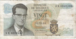 Bélgica - Belgium 20 Francs 15-6-1954 Pk 138  Ref 153-10 - [ 2] 1831-... : Reino De Bélgica