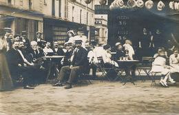 Carte Photo Café Terrasse  Texte Vierzon Neuvy Sur Barangeon Cher Pub Pernod Picon Eau De Seltz - Cafés