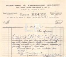 5-1781   Facture  1950  MONTAGE & POLISSAGE ARGENT LOUIS HOUZE A SAINT LEU LA FORET - France