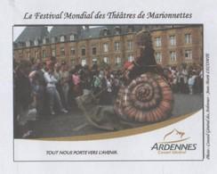 FESTIVAL MONDIAL DES THEATRES DE MARIONNETTES - UN ESCARGOT GEANT, CONSEIL GENERAL DES ARDENNES, PAP ENTIER POSTAL 2010 - Marionnettes