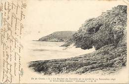 -dpts Div.-ref-AG726- Morbihan - Groix -rocher Du Terrible Où Se Perdit Le Trois Mâts Danois Coronna -10 Nov 1896 -etat - Groix