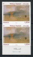 RC 11820 FRANCE N° 402 PAIRE WILLIAM TURNER TABLEAU AUTOADHÉSIFS COTE 16,00€ TB - France