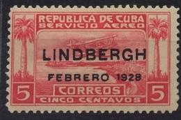 CUBA 1928 Lindbergh Febrero 1928 Overprint Mint Hinged - Unused Stamps