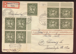 D Besetzung Dienstpost Alpenvorland R Brief MEF 860 Mals Bogenencke Viererblock - Occupation 1938-45