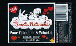 Etiquette Biere La Sainte Nitouche Pour Valentine & Valentin    9,5%  33cl  Brasserie De La Croix  Beyne-Heusay Belgique - Bière