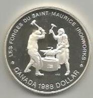 Canada, 1988, 1 Dollaro Ag. Proof Les Forges Du Sanint Maurice Ironworks In Confezione Di Zecca. Mint Box. - Canada