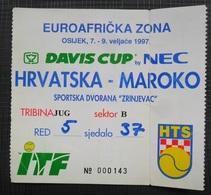 Match Tickets, Tennis Davis Cup Hrvatska - Marocco 1997 Osijek - Tickets D'entrée
