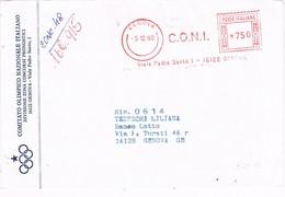31694. Carta GENOVA (Italia) 1990. Franqueo Mecanico C.O.N.I. Comitato Olimpico Nazionale Italiano - 1981-90: Storia Postale