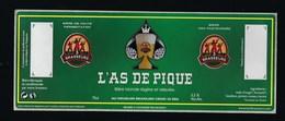 Etiquette Biere  Blonde L'As De Pique  3,5-% 75-cl  Les 3 Brasseurs - Bière