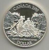 Canada, 1989, 1 Dollaro Ag. Proof Fleuve Mackenzie River, In Confezione Di Zecca. Mint Box. - Canada