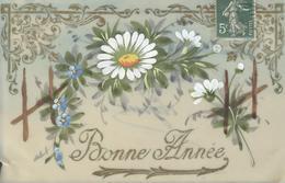 Themes Div-ref AA813- Carte Celluloide -celluloid -translucide - Carte Peinte A La Main -fleurs - Bonne Année - - Cartes Postales