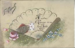 Themes Div-ref AA811- Carte Celluloide -celluloid -translucide - Carte Peinte A La Main -poisson D Avril Et Eventail - - Cartes Postales