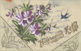 Themes Div-ref AA810- Carte Celluloide -celluloid -translucide - Carte Peinte A La Main -fleurs Et Hirondelle -fetes - - Cartes Postales