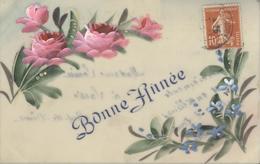 Themes Div-ref AA809- Carte Celluloide -celluloid -translucide - Carte Peinte A La Main -fleurs- Bonne Année - - Cartes Postales