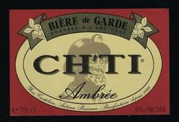 """étiquette Bière France: Bière De Garde Ambrée CH'TI  """"Mineur, Casque"""" - Bière"""
