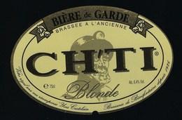 """étiquette Bière France: Bière De Garde Blonde CH'TI  """"Mineur, Casque"""" - Bière"""