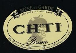 """étiquette Bière France: Bière De Garde Brune CH'TI  """"Mineur, Casque"""" - Bière"""