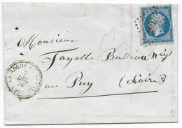 1859 - COTE D'OR - LETTRE De LA ROCHE EN BRENIL Avec T22 + PC 2697 (IND 13) => LE PUY - 1849-1876: Période Classique