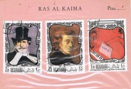 31698. Hoja Souvenir RAS AL KAIMA ( Arabia States) 1970. MUSIK, Verdoi, Mozart, Chopin - Música