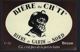 """étiquette Bière France: Bière De Garde En Nord Brune CH'TI   """"Mineur, Casque"""" Cà C'est Pas De La Petite Bière - Bière"""