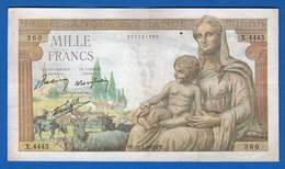 1000 Fr  Du  25/2/1943 - 1 000 F 1942-1943 ''Déesse Déméter''
