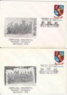 76866- FLAMANZI PEASANTS UPRISING, BOTOSANI MONUMENT, SPECIAL COVER, 2X, 1978, ROMANIA - 1948-.... Républiques