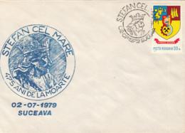 76906- STEPHEN THE GREAT, KING OF MOLDAVIA, SPECIAL COVER, 1979, ROMANIA - 1948-.... Républiques