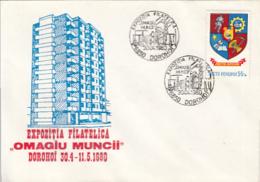 76911- DOROHOI PHILATELIC EXHIBITION, CONSTRUCTIONS, SPECIAL COVER, 1980, ROMANIA - 1948-.... Républiques