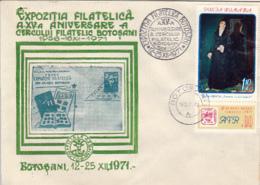 76913- BOTOSANI PHILATELIC EXHIBITION,  SPECIAL COVER, PAINTING STAMP, 1971, ROMANIA - 1948-.... Républiques