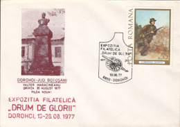 76928- BOTOSANI PHILATELIC EXHIBITION, GLORY ROADS, 1877 INDEPENDENCE WAR ANNIVERSARY, SPECIAL COVER, 1977, ROMANIA - 1948-.... Républiques