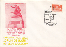 76929- BOTOSANI PHILATELIC EXHIBITION, GLORY ROADS, 1877 INDEPENDENCE WAR ANNIVERSARY, SPECIAL COVER, 1977, ROMANIA - 1948-.... Républiques