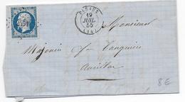 1855 - CANTAL - LETTRE De PLEAUX Avec PC 2451 (IND 6) => AURILLAC - 1849-1876: Période Classique