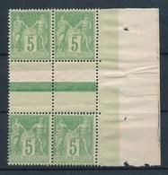 CP-70: FRANCE:  Lot Avec N°106a** Bloc De 4 (type 1 Et 2 Se Tenant, Gomme Avec  Défauts) - 1898-1900 Sage (Type III)