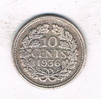 10 CENTS 1936 NEDERLAND /1932/ - 10 Cent