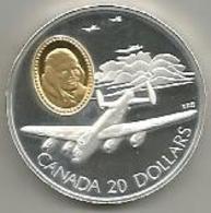 Canada, 20 Dollari Ag. Proof 1990, Aereo Lancaster, In Confezione Originale Di Zecca, Con Certificato. Mint Box. - Canada