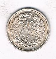 10 CENTS 1937 NEDERLAND /1933/ - 10 Cent