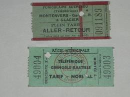 2 Tickets Téléphérique, Tramway,Ticket Autobus,Train, Metro. - Strassenbahnen